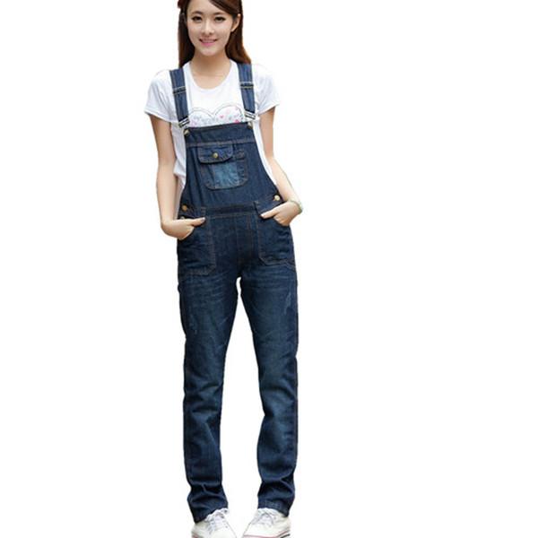 Wholesale- Womens Jumpsuit Denim Overalls 2017 New denim bib pants female loose suspenders jeans jumpsuit girls overalls jeans