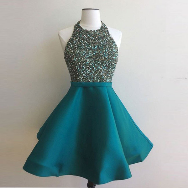 Green Short Prom Dresses Sexy Halter Neck Sequins Beaded Cheap Black Girl Homecoming Gown Sweet High School Plus Size Tulle Mini Party dress