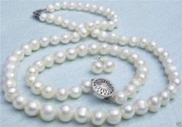 Genuine 7-8mm branco pulseira colar de pérolas de água doce e brincos conjunto