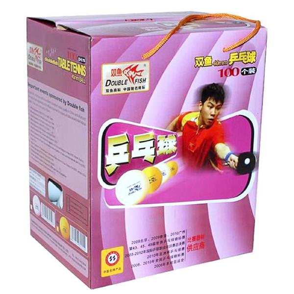 Atacado-Original 100 peças de Double Fish branco 40mm formação tênis de mesa / bolas de pingue-pongue