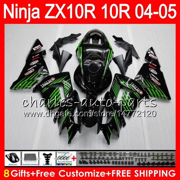 8Gifts 23Colors Body For KAWASAKI NINJA ZX 10 R ZX10R 04 05 06 07 35HM15 verde negro ZX 10R ZX1000 C ZX1000C 04 ZX-10R 2004 2005 kit de carenado
