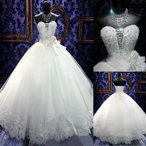 best selling Stunning Tulle Ball Gown Wedding Dress With Beadings & Rhinestones Bling Bling Wedding Gowns Floor Length Bridal Dress