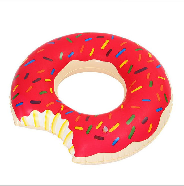 top popular 90cm inflatable Donut Swimming ring Gigantic Donut Swimming Float Adult Pool Floats Strawberry and Chocolate swim rings floating tubes 2021