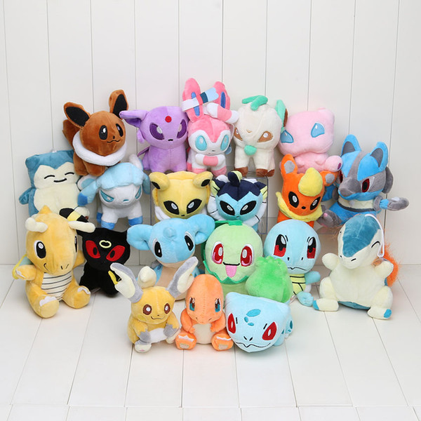 20pcs/set Anime Eevee 20 Different style pocket Plush Character Soft Toy Stuffed Animal Collectible Doll New in Bag
