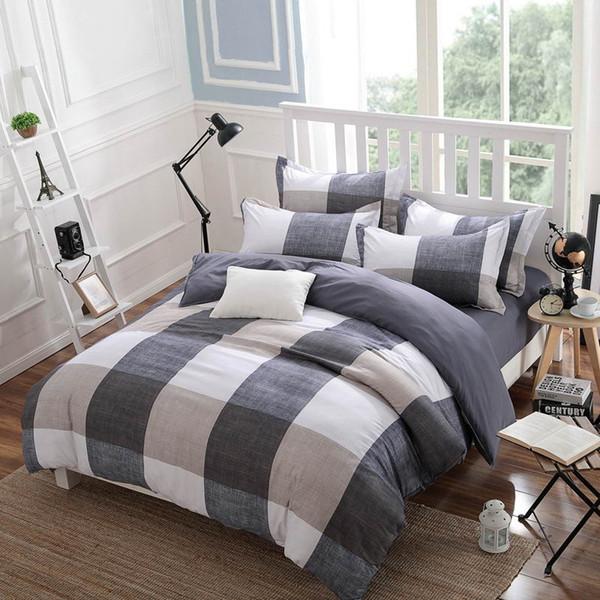 Al por mayor-Primavera y otoño Juegos de cama de algodón Funda nórdica Ropa de cama Estilo minimalista a cuadros Moda 3 / 4pcs Reina Full Twin Size