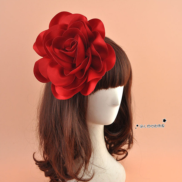 High Quality Big Satin Flower Hair Clip For WOmen Fashion WIne Red Yellow Blue Purple Party Women Show Dance Hair Accessories