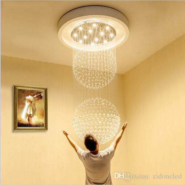 Charming Führte Kristalllüstertreppen Geführte Hängende Beleuchtungskörper LED  Innenpendellampe Moderner Leuchter Hohe Decken Hängende Lampen