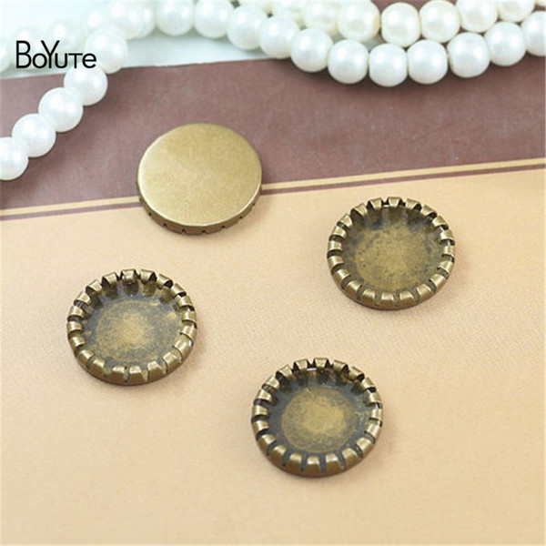 BoYuTe 100Pcs Round 14MM Hot sale Cameo Cabochon Setting Bronze Diy Blank Tray Base Jewelry Accessories Parts
