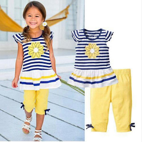 Joli bébé enfants vêtements de filles rayures de tournesol Tops + Leggings jaune 2pcs tenue ensembles 2017 été enfants fille vêtements ensemble