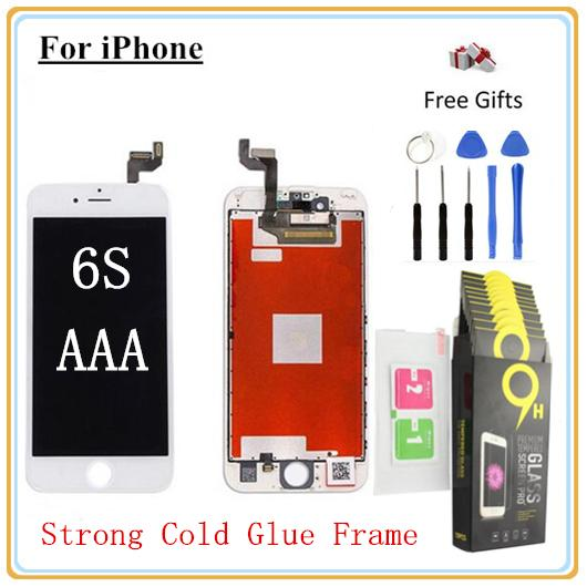 1Pcs For iPhone 6S (4.7'') Quality AAA LCD Display Digitizer Touch screen with Full set Assembly Toughened glass protective film & Open Tool