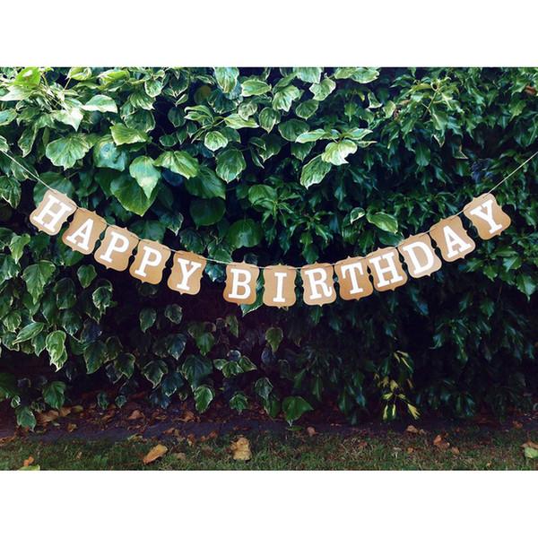 Atacado-Vintage Feliz Aniversário Bunting Banner De Papelão BD Decoração Do Partido Do Partido Da Bandeira Garland Bunting Suprimentos Adereços Foto Booth