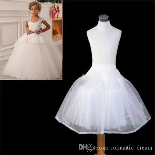 Latest Children Petticoats Wedding Bride Accessories 2 hoops 2 Layers Little Girls Crinoline White Long Flower Girl Formal Dress Underskirt