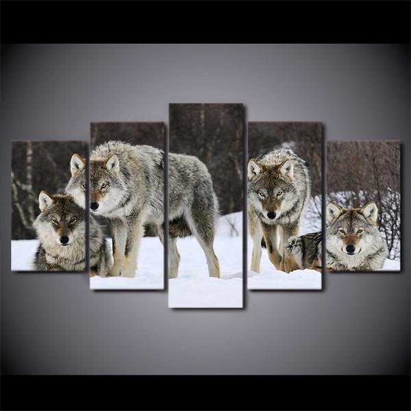 Compre 5 Unids / Set Enmarcado Hd Arte De La Lona Impresa Lobo Nieve ...