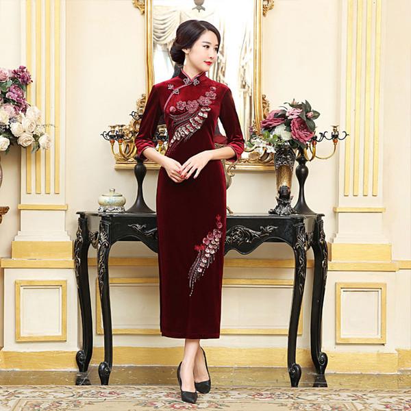 2019 spring high quality plus size 3/4 long sleeve 100%velvet embroidery flower purple/blue/wine red long cheongsam wedding dress qipao