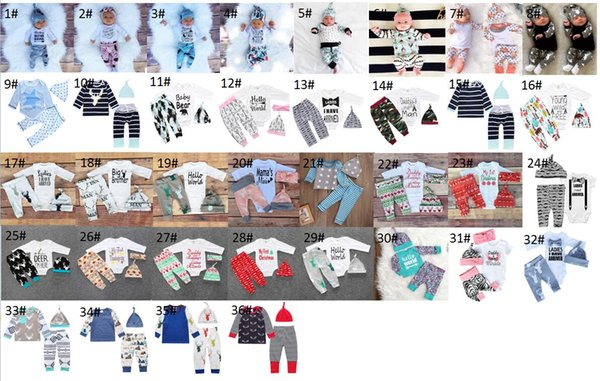 Spring Baby Romper Baby Boy Girl sets Newborn Infant Romper pants+Hat 3pcs Baby Outfits Clothing For 0~2 Y