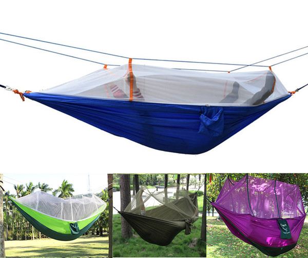 Wholesale- Wholesale 50pcs/lot Outdoor Portable camping Mosquito net sleeping hammock High strength parachute Fabric double hanging bed