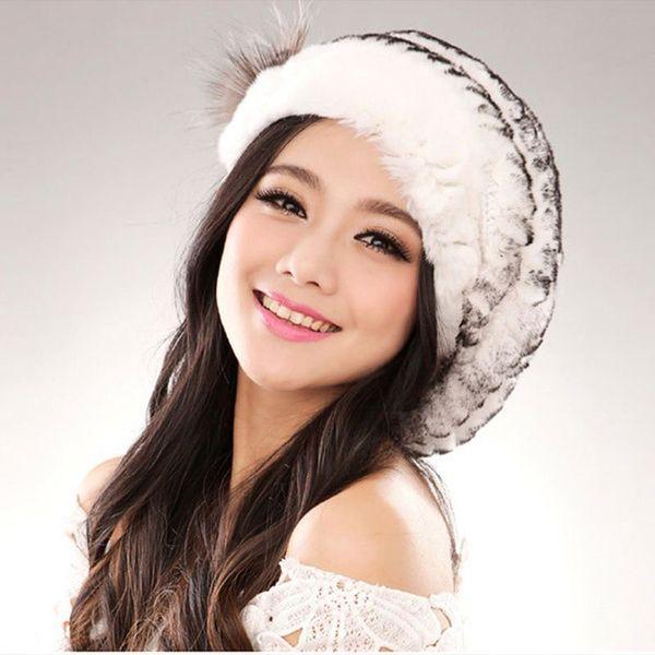 2016Hot fashion excellent rex rabbit fur hat Genuine Women winter cap high quality beret hat