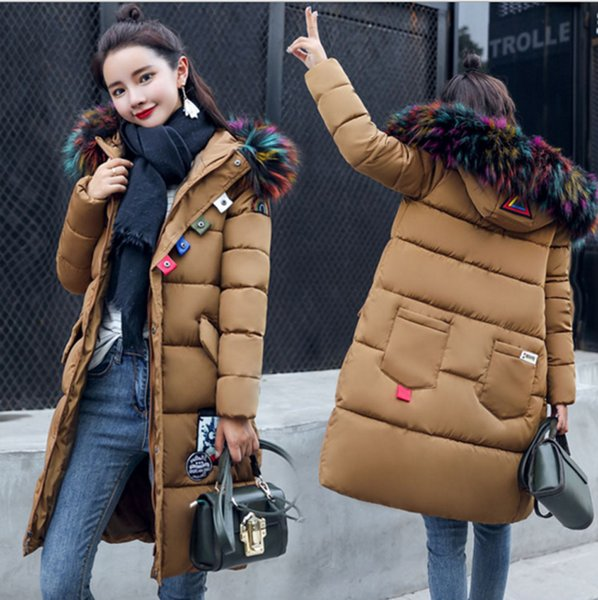 b9e142bda0f7 luxury gift colorful fake fur parka hooded puffer coat long winter jacket  army green warm hipster