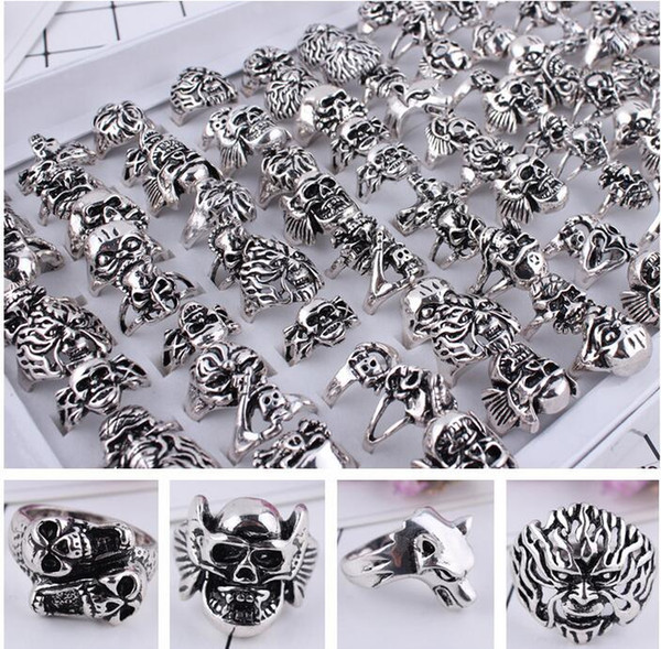 50pcs/lot Gothic Big Skull Ring Men Man Imitation Stainless Steel Bohemian Punk Vintage Jewelry Religion Statement Rings Mixed style size