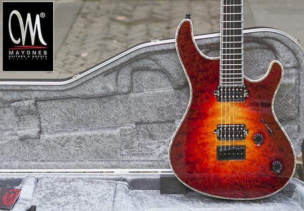 best selling Wholesale- Mayones regius6 handmade electric guitar seymour duncan pickups grover tuner locked custom shop color binding
