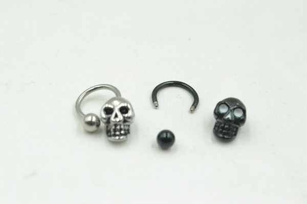 50pcs 16G~1.2mm PUNK Skull Head Horseshoes Ball Nose/Ear/Lip/Nipple ring Mulit Use Ring body piercing jewelry CBR New 16g~1.2