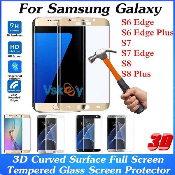 10 pcs 3D Superfície Curvo Cobertura Completa de Vidro Temperado Para Samsung Galaxy S7 Borda S6 Borda Mais A3 A5 (2017) À Prova de Explosão Protetor de Tela