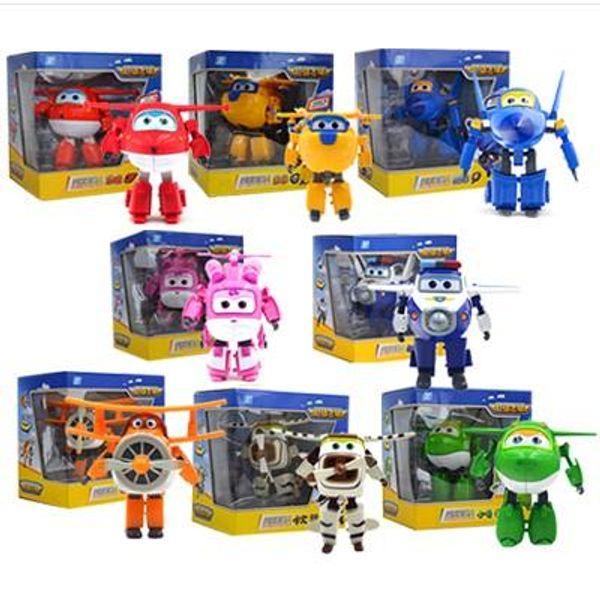 Süper Kanatları 12 cm * 15 cm Büyük Dönüşen Uçaklar serisi Robot Çin Komik Akı TV Jett Jet anime aksiyon Figürleri Çocuk Oyuncakları Hediye