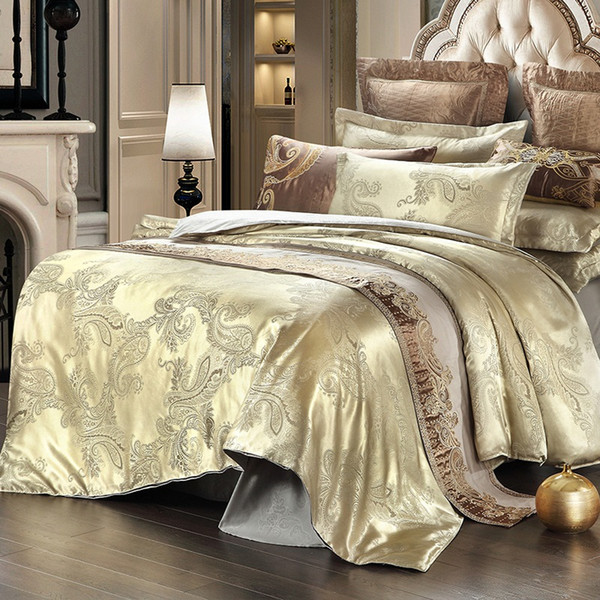 New Satin Jacquard Bedding Set 4PC Spring Summer Duvet Cover Sets Quilt Cover Bed Sheet Pillowcase Full/Queen Factory Price