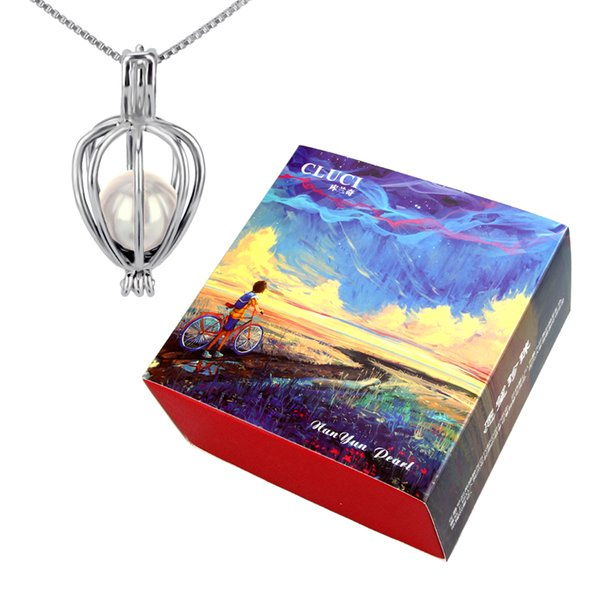 Gift Set 6-7mm Akoya Cultured Pearl in Oyster with 925 Silver heart shape Cage Pendant
