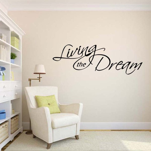 New Style For Living The Dream Wall Decal Removable Stickers Art Vinyl Decor Bedroom Sitting Room Quotes Diy Wall Decals Cheap Wall Decals Deals From