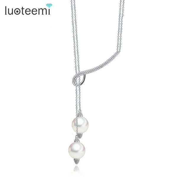 LUOTEEMI New Lady Girl Lovely Long Double Imitation Pearls Adjustable Length Pendant Necklace for Women Jewelry CZ Bijoux Gifts