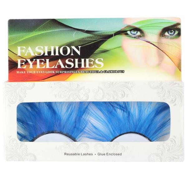 New 1 Pair / set of Clorful Blue Feathers False Eyelashes For Party Makeup or Exaggerated Fake Eyelashes