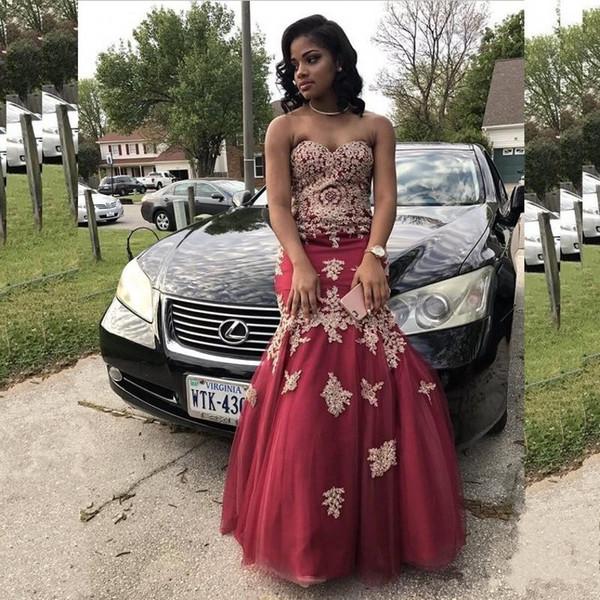 2017 Belle Africaine Robes De Bal Sweetheart Appliques Perlées Sirène Robes De Soirée De Soirée Pour Les Filles Noires