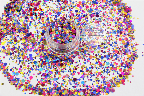 Wholesale-RA321-170 Mix Colors Dot shapes round Glitter for nail art,nail gel,makeup and DIY decoration