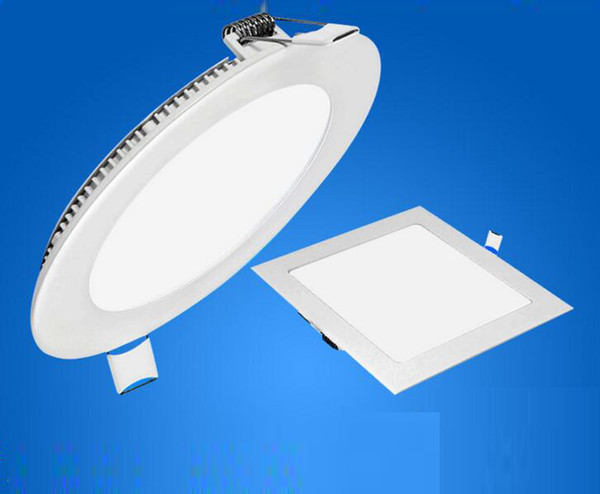 Dimmable 6w/9W/12W/15W/18W/21W CREE LED Panel lights Recessed lamp Round/Square Led downlights for indoor ceiling lights 85-265V+Led Driver