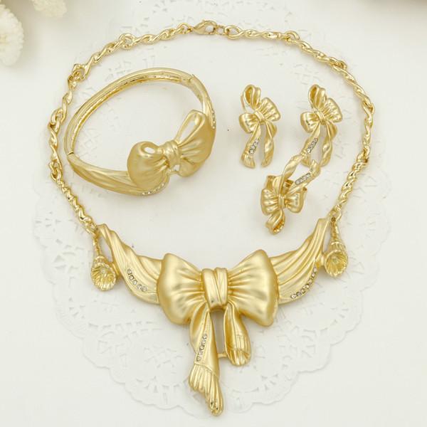 2018 24k Romantic Bride Wedding Jewelry Sets Dubai Gold Plated