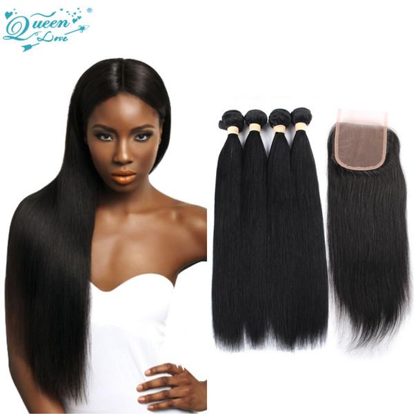 100% Human New Arrival 7a Malaysian Virgin Straight Hair with Closure Malaysian Virgin Hair with Closure 4 Bundles Queenlovehair Company