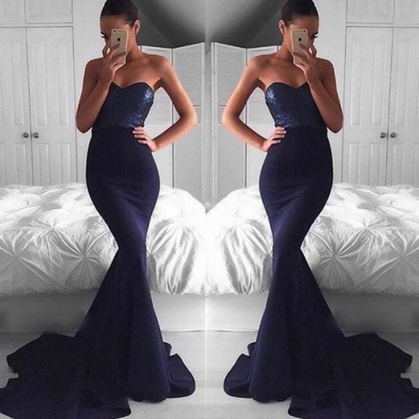 Simple Style Navy Blue Evening Party Dress Sequined top Sexy Backless Mermaid Prom Dress 2017 Cheap Occasion Gowns for Women
