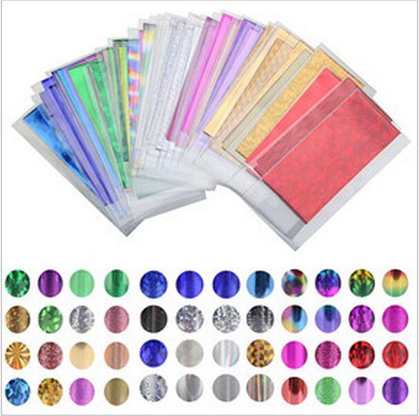 48 Feuille 35 cm * 4 cm Mix Couleur De Transfert Feuille Nail Art Star Design Autocollant Decal Pour Soins Polonais DIY Univers Nail Art Decoretion