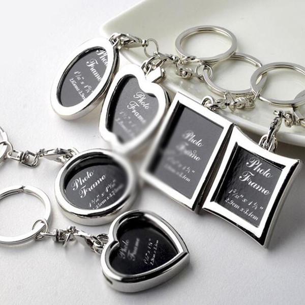 Originality Photo Frame Round Heart Apple Shape Metal Alloy Keychain Key Chain Keyring Car Keychains Couples Keyring Business Gift