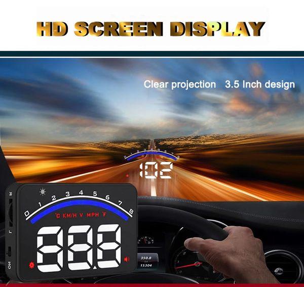 top popular Professional Car Alarm System M6 OBD2 HUD Projector Head Up Display KM h MPH Over Speeding Warning OBD II Inteface HUD Styling 2019