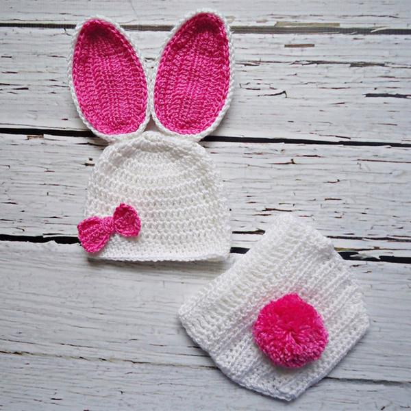 Newborn White&Hot Pink Easter Bunny Costume,Handmade Knit Crochet Baby Girl Rabbit Animal Hat&Diaper Cover,Toddler Infant Photo Prop