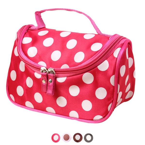 Wholesale- Xiniu Cosmetic bag Women 4 Color Polka Dot Flip Double Zipper Ladies Hand Bags makeup bag organizer maleta de maquiagem#0