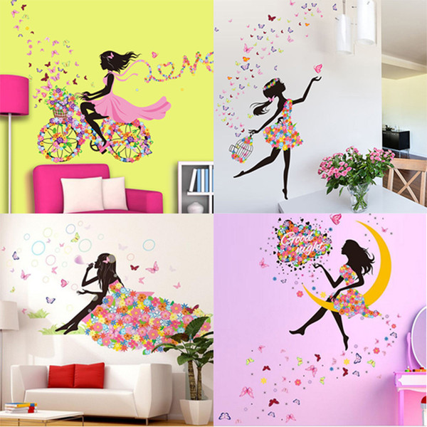 Beautiful Girls Colorful Butterfly Flowers Decor Living Room Decor DIY Art Wall Stickers Decoration Decor Stick Modern Design