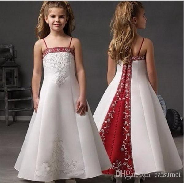 Grace A-Line Spaghetti Flowers Girl Dresses White And Red Satin Embroidery Beads Bridesmaid Gown Custom Size