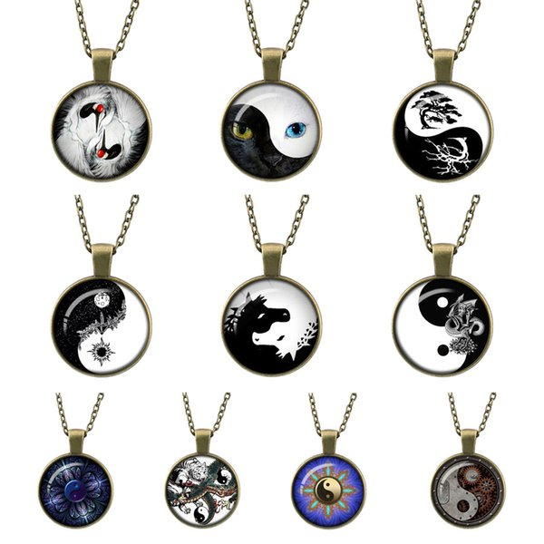 Time Gems Retro yin yang Tai Chi Cat Face photo Glass Bronze Pendant sweater Chain Necklace Nice charms Jewelry Girl statement necklaces