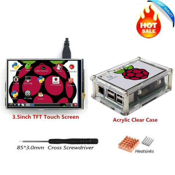 Freeshipping 3.5 inch SPI TFT LCD Display Screen with Touch Panel 480*320+Clear Case+Heatsinks+Screwdriver for RPi1/RPi2/raspberry pi3 Board