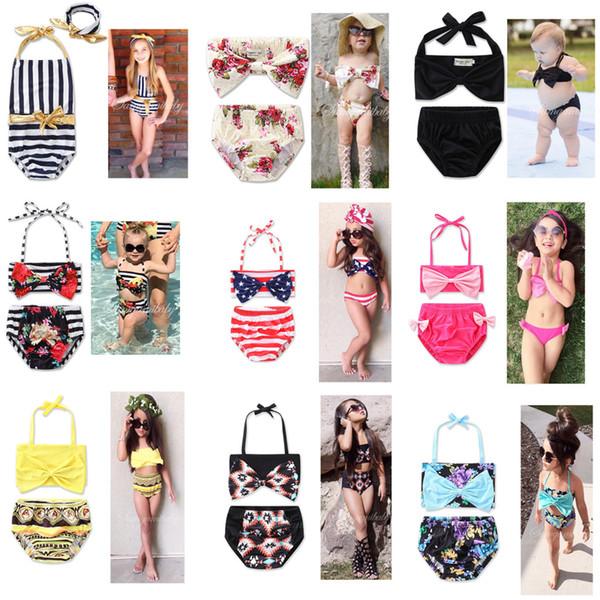 top popular 2017 Newest 13 Styles Baby Girls Swimwear Summer Kids Bikini Swimsuit bow printing Children Bathing Suit Kids Girls Swimming Suit 2020