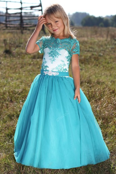 vestidos primera comunion para ninas 2017 with Short Sleeves and Lace Applique A Line Kids Prom Dress Cute Flower Girl Dress
