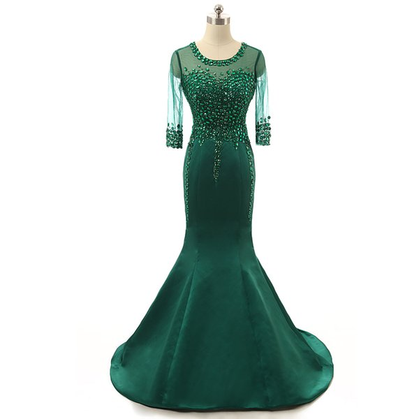 Emerald Evening Dresses 2017 with Beaded vestidos de noiva Scoop Neck Crystal Formal Prom Gowns Free Shipping